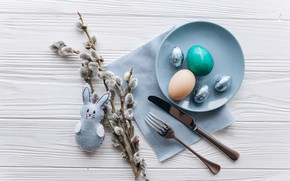 Picture toy, eggs, spring, rabbit, Easter, Holiday, Verba, napkin, Cutlery