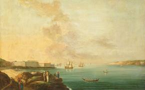 Picture landscape, boat, ship, oil, picture, sail, canvas, Jan Van der Steen, View of the Dardanelles