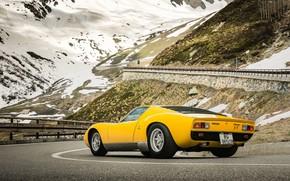 Picture Color, Auto, Road, Mountains, Yellow, Lamborghini, Rocks, Snow, Machine, Serpentine, 1971, Landscape, Car, Supercar, Lamborghini …