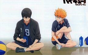 Picture the ball, headphones, red, player, guys, two, friends, sneakers, art, sports uniforms, Haikyuu!!, Volleyball!, Shouyou …