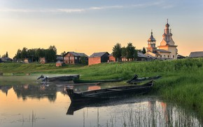 Wallpaper river, dawn, Arkhangelsk oblast, boats, Kimzha, village