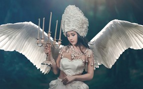 Picture girl, style, background, wings, angel, candles, Asian, bracelets, candle holder, headdress