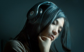 Picture Girl, Music, Asian, Beauty, Headphones, Song