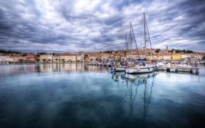 Picture Marina, boats, Bay, Croatia, Mali Losinj