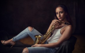 Picture girl, music, saxophone