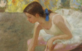 Picture girl, picture, Francois Gall, A young Ballerina with a Blue Ribbon behind the Curtain