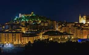 Picture trees, night, lights, home, lights, Spain, Aragon, Alcaniz