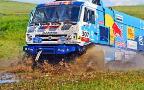 Wallpaper Grass, Sport, Speed, Race, Master, Dirt, Squirt, Russia, 307, Kamaz, Rally, Rally, KAMAZ, Master, Silk ...
