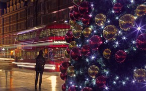 Wallpaper bus, London, England, Christmas, holiday, street, lights