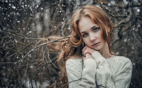 Picture winter, white, girl, snow, trees, snowflakes, branches, photo, sweetheart, makeup, hairstyle, brown hair, nature, bokeh, …