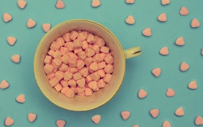 Picture background, mug, Cup, hearts, a lot, candy