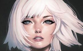 Wallpaper bangs, blue eyes, haircut, portrait of a girl, face, white hair, Ilya Kuvshinov