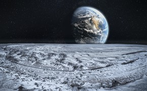 Wallpaper surface, earth, the moon