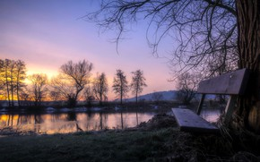 Picture river, morning, bench