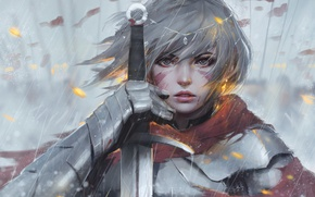 Wallpaper girl, sword, fantasy, rain, armor, eyes, art, tattoo, face, painting, artwork, warrior, fantasy art, Knight, ...