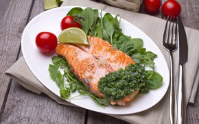 Picture fish, lime, tomato, salmon, steak, spinach