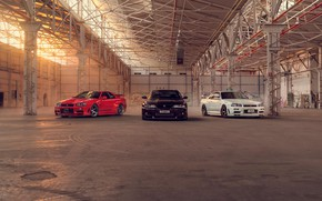 Picture Nissan, Red, Car, Black, White, Skyline, R34, Nismo, R33
