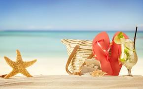Wallpaper bag, sea, beach, vacation, cocktail, starfish, stay, bitnami