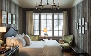 Picture design, bed, pillow, window, bedroom