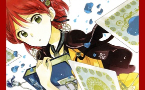 Picture face, earrings, petals, book, bottle, art, Akagami no Shirayuki-hime, Shirayuki, Red Haired Snow White, Sorata …