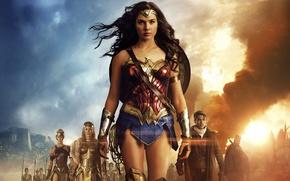 Picture cinema, Wonder Woman, armor, movie, brunette, film, Chris Pine, warrior, DC Comics, Diana, strong, Gal …