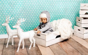 Wallpaper new year, boy, child, baby, sitting, deer, hat