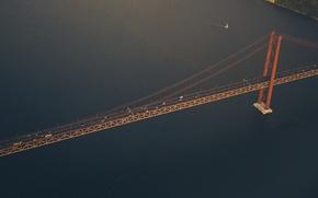 Picture road, sea, machine, Strait, sailboat, yacht, Bay, USA, USA, Detroit, Detroit, suspension bridge, the Ambassador …
