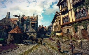 Picture road, the city, soldiers, the witcher 3 wild hunt, Novigrad
