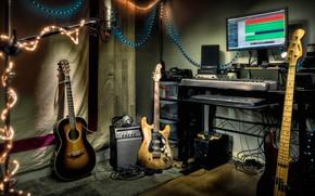 Wallpaper music, instrumento, Studio, guitar