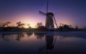 Picture winter, the sky, stars, river, the evening, channel, Netherlands, windmills