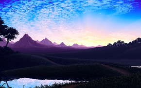 Wallpaper Nature, Mountains, Retro, View, Art, Graphics, Pixels, 8bit, PXL, Peisaj
