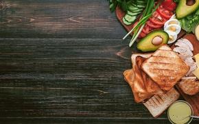 Wallpaper greens, chicken, bread, meat, vegetables, sauce, sandwich, eggs, toast, avocado, sandwiches, tomato, sandwich, chicken, ingredients