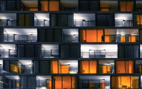 Picture light, the city, house, people, Windows