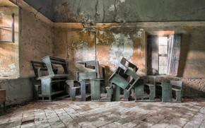 Wallpaper room, desks, Klas