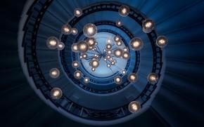 Picture spiral, lights, ladder