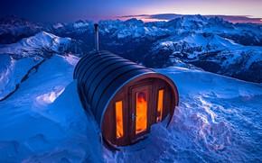 Wallpaper mount Lagazuoi, snow, sauna, Italy, The Dolomites