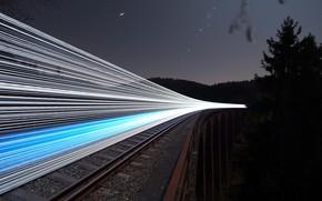 Wallpaper railroad, bridge, night, lights