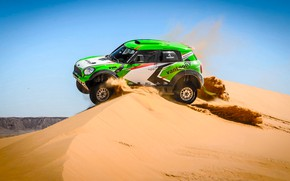Wallpaper Sand, Mini, Dust, Sport, Green, Speed, Race, Day, Hills, Rally, Rally, Dune, Raid, MINI Cooper, ...