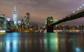 Picture landscape, bridge, river, Skyscrapers, Night city, Night lights