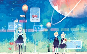 Picture children, anime, art, Vocaloid, Vocaloid, characters, stop