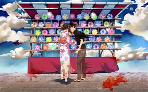 Picture the sky, girl, clouds, fish, the wind, turntables, canopy, guy, yukata, showcase, almost kiss, bells …