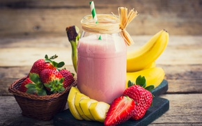 Picture strawberry, Bank, tube, drink, banana, smoothies