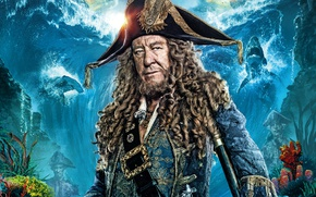 Picture wave, background, ships, corals, fantasy, sharks, Pirates of the Caribbean, poster, Geoffrey Rush, Geoffrey Rush, ...
