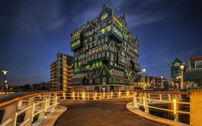 Picture night, lights, Netherlands, Holland, Zaandam, Zaandam