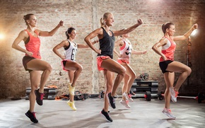 Wallpaper girls, fitness, the gym, exercises, figure, group, shorts, sneakers, Mikey, athletes, poses