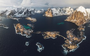 Wallpaper rocks, the fjord, winter, mountains, snow, The Lofoten Islands, sea