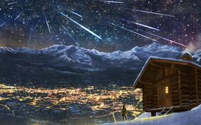 Wallpaper anime, Kamet, night, house, girl