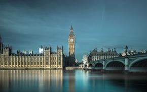 Picture bridge, river, England, London, Thames, London, England, Big Ben, Whitehall