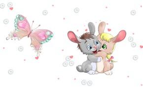 Wallpaper Daisy, art, Bunny, heart, children's, hugs