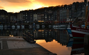 Picture France, Sunset, Home, Yachts, Promenade, Building, Sunset, France, Honfleur, Honfleur